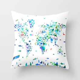 world map animals collage Throw Pillow
