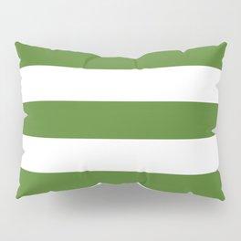 Sap green - solid color - white stripes pattern Pillow Sham