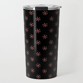 Coral Pink on Black Snowflakes Travel Mug