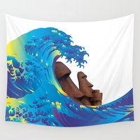 hokusai Wall Tapestries featuring Hokusai Rainbow & Moai by FACTORIE