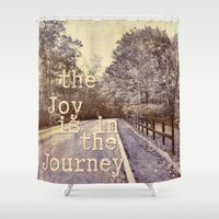 trip Shower Curtains featuring Road Trip by LebensART