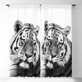 Black and white fractal tiger Blackout Curtain