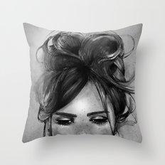 Sweet freckles girl face Throw Pillow