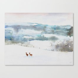 deer in the snow watercolour  Canvas Print