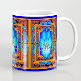 Orange Southwest Blue pansy Patterned Art Design Coffee Mug