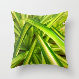 Spider Plant Leaves Throw Pillow