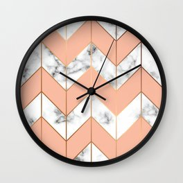 Marble texture, seamless pattern design with golden geometric lines Wall Clock