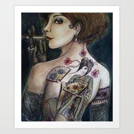 The geisha tattoo Art Print