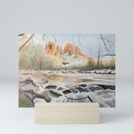 Sedona, Arizona Cathedral Rock River Reflections in the Winter Watercolor Painting Mini Art Print