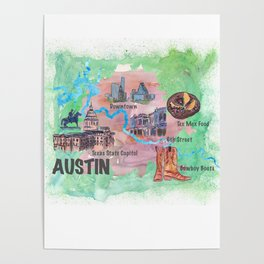 Austin Texas Favorite Map with touristic Top Ten Highlights in Colorful Retro Style Poster