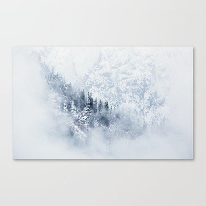 Minimalist Pine Tree: Minimalist Landscape Pine Trees & Mountains Canvas Print