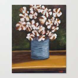Bouquet of cotton in tin can Canvas Print