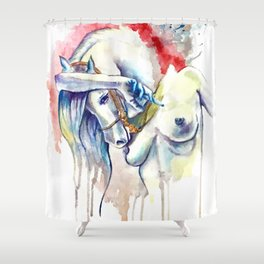 Oh my Horsie! Morphing Shower Curtain