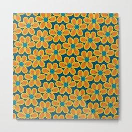 Susi Flowers - Retro Modern Floral Pattern Orange Mustard Teal Metal Print