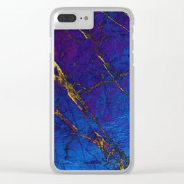 Blue Gold Marble Stone Pattern Clear iPhone Case