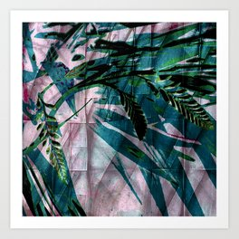 Crocosmia Shimmer in Pink Teal Green Art Print