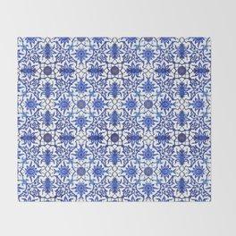 Art Nouveau Chinese Tile, Cobalt Blue & White Throw Blanket