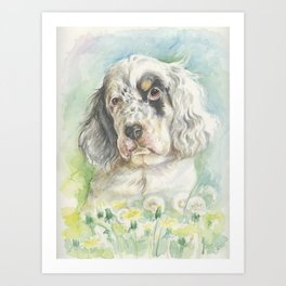 ENGLISH SETTER PUPPY Cute dog portrait on the dandelions meadow Art Print