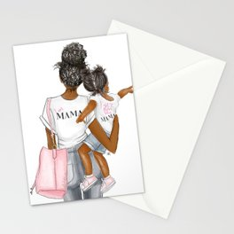 I got it from my mama toddler girl curly hair dark skin Stationery Cards