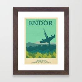 Retro Travel Poster Series - Star Wars - Endor Framed Art Print