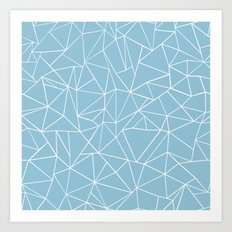 Abstraction Outline Sky Blue Art Print