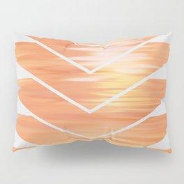 NL 2 Coral Sunset Chevron on Gray Pillow Sham