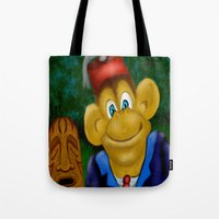 fez Tote Bags featuring Chimp in a Fez by Gene S Morgan