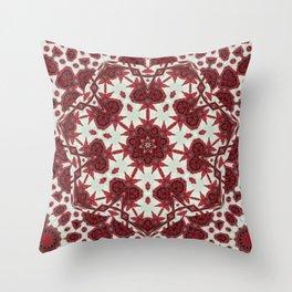 Red Rose Endings Mandala Throw Pillow