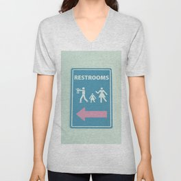 RESTROOM SIGN Unisex V-Neck