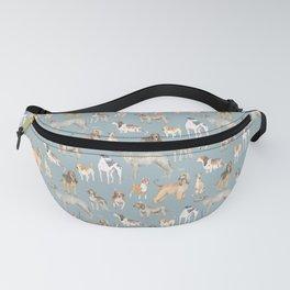 Hound dogs pattern on blue Fanny Pack
