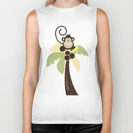 Ahoy Mate Monkey on Palm Tree with Whale and Sailboat Biker Tank