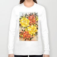 batik Long Sleeve T-shirts featuring BATIK FLOWERS  by Acus