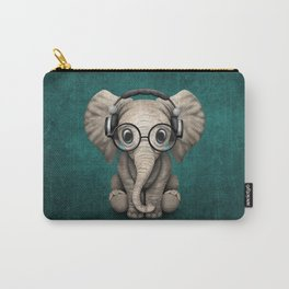 Cute Baby Elephant Dj Wearing Headphones and Glasses on Blue Carry-All Pouch