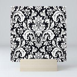Damask Paisley Black and White Paisley Pattern Vintage Mini Art Print