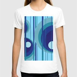 Retro Vintage Graphic Rings blue T-shirt