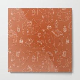 Linocut Camels No. 3 in Terracotta Metal Print