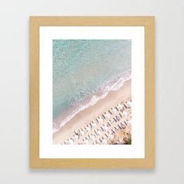 Vulisma Beach Crete, Greece   Drone Photography Pastel Colors Framed Art Print