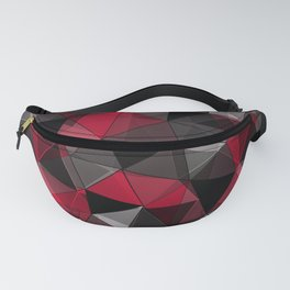 Abstract polygonal pattern.Red, black, grey triangles. Fanny Pack