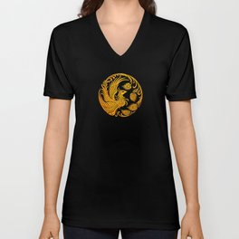 Traditional Yellow and Red Chinese Phoenix Circle Unisex V-Neck