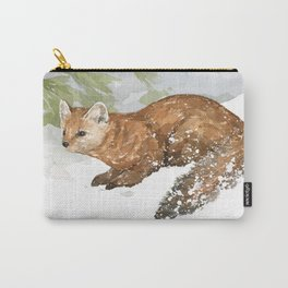 Pine Marten in Snow Carry-All Pouch
