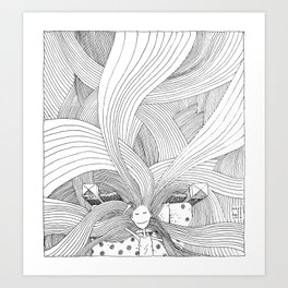 The girl with long hair Art Print