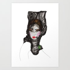Lady with a Lace Veil Art Print