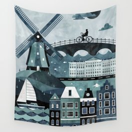 Amsterdam Travel Poster Wall Tapestry