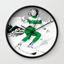 Snow Bunny Pin Up Girl Green Wall Clock