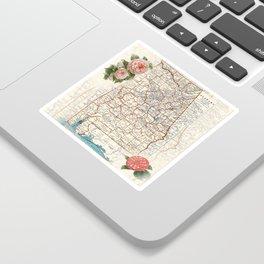Alabama map with Camelias Sticker