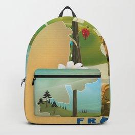 France map travel poster. Backpack