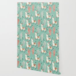 Llamas and cactus in a pot on green Wallpaper