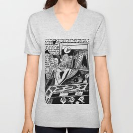 Unique Black and white drawing: 'VEX'  Unisex V-Neck