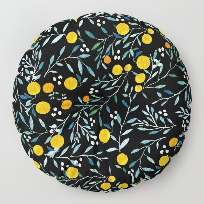 Oranges Black Floor Pillow