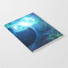 Abstract colorful shiny print graphic with planet space Notebook